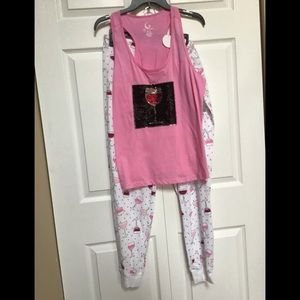 2pc pajama set NWT tank top with flippable sequins
